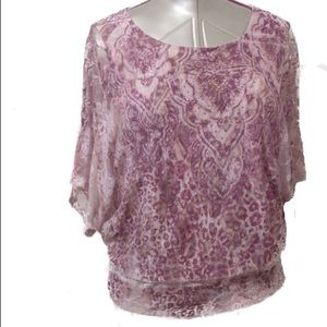 Dress  Barn Lace Overlay Dolman Sleeve Blouse